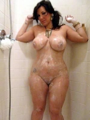 grown-up column showering posing bare