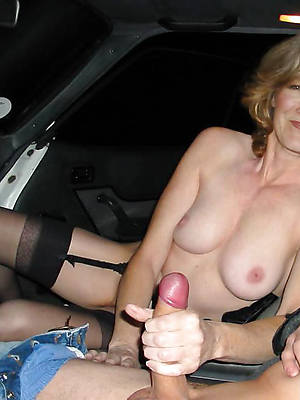 ridiculous full-grown handjob cumshots unshod the driver's seat quickly