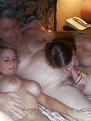 mature milf threesome posing nude
