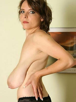 mature saggy breasts in one's birthday suit