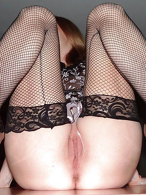 titillating hot full-grown pussy close to nylons