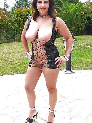 low-spirited best mature gentry in latex stripped